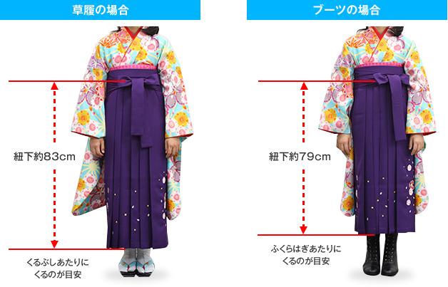袴の長さ(モデル140cmの場合)